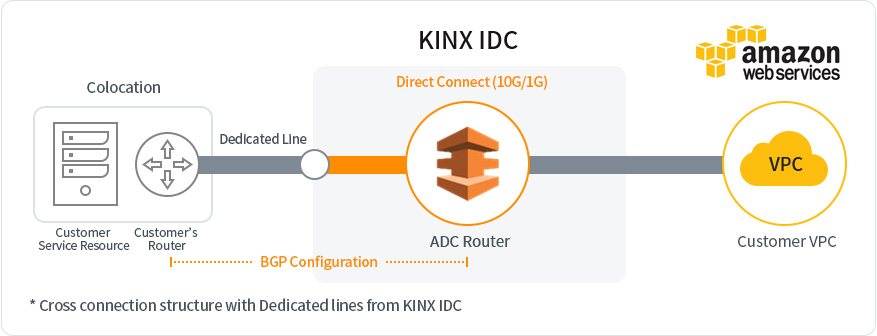 KINX Network Service AWS Direct Connect Structure 10G/1G-2